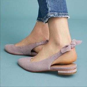 Anthropologie Bow-Tied Sling Back Flats Lilac